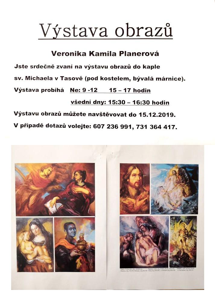 V tasovské kapli vystavuje obrazy malířka Veronika Kamila Planerová